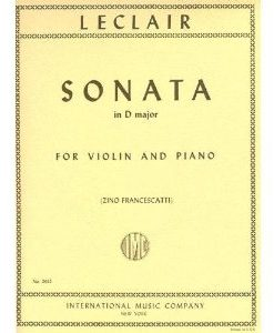 Leclair Jean-Marie - Sonata in D Major Op 9 No3 Violin and Piano by Zino Francescatti International